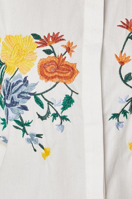 Koszula damska biała z ozdobnym haftem