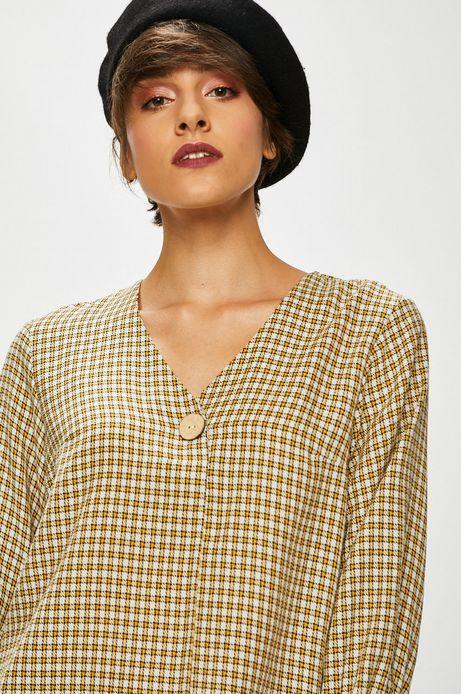 Bluzka damska biała w kratkę ze szpiczastym dekoltem