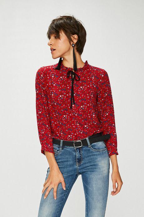 Bluzka damska czerwona wzorzysta z wiązaniem przy dekolcie