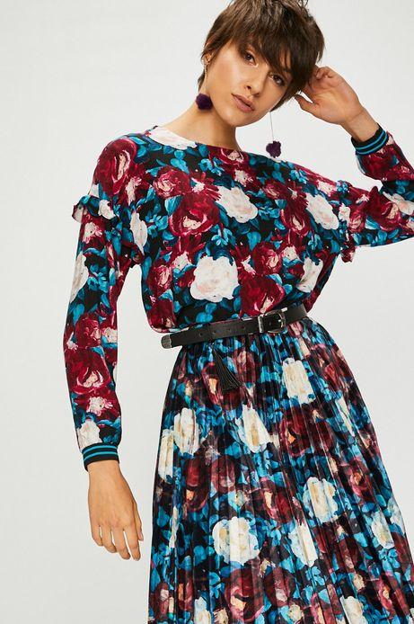 Bluzka damska wzorzysta z ozdobnymi falbanami