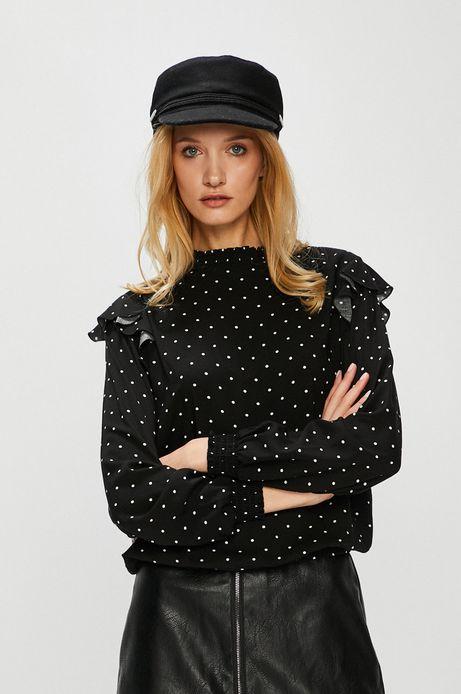 Koszula damska czarna w kropki z falbaną