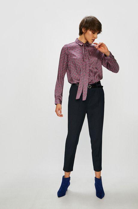 Koszula damska granatowa wzorzysta z wiązaniem