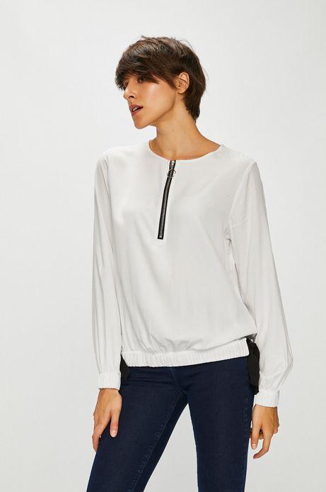 Bluzka damska biała z dekoltem na suwak