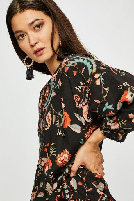Bluzka damska ze ściągaczem czarna