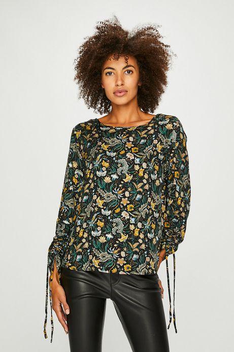 Bluzka damska czarna z ozdobnymi rękawami