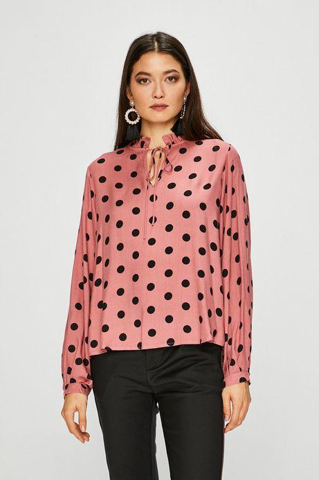 Bluzka damska w grochy z wiązaniem różowa