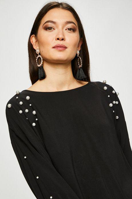 Bluzka damska czarna z ozdobnymi detalami