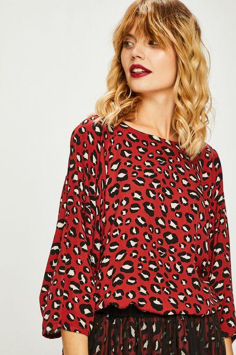 Bluzka damska czerwona wzorzysta z wiązaniem na rękawach
