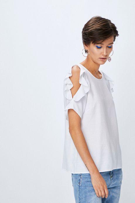 Woman's Bluzka damska cold shoulder biała