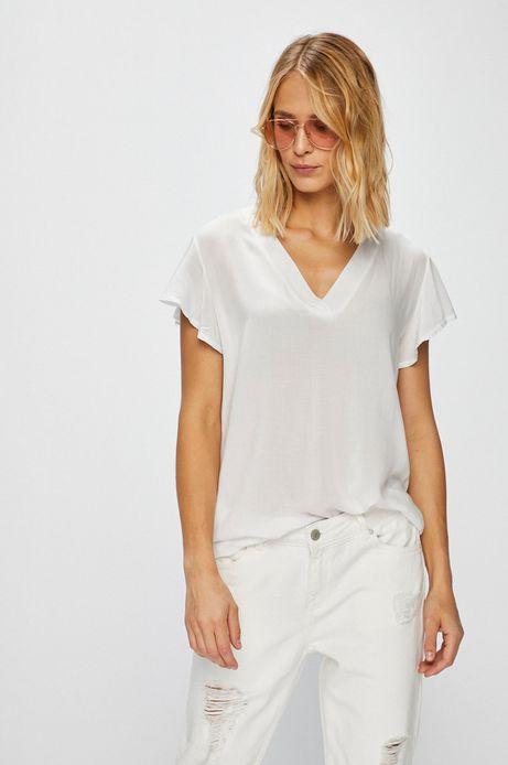Top damski biały ze szpiczastym dekoltem