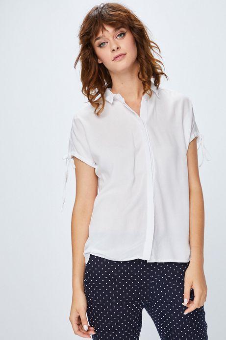 Koszula damska biała gładka z klasycznym kołnierzykiem