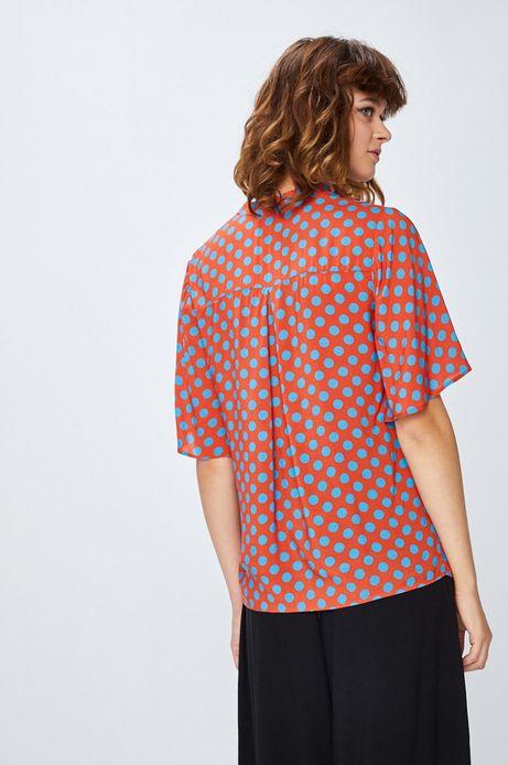 Koszula damska czerwona w kropki z wiązaniem