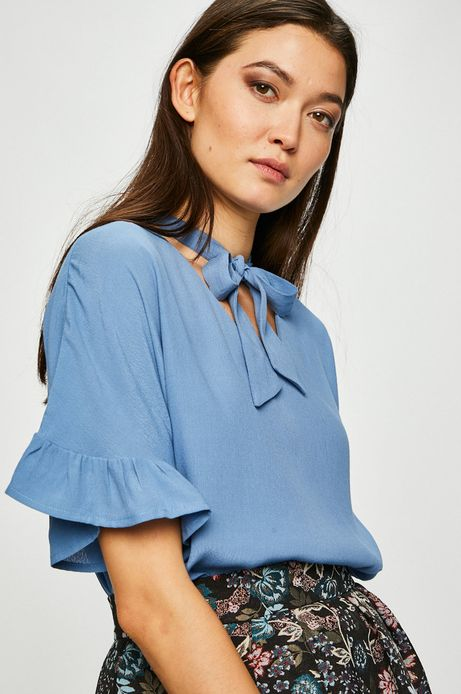 Bluzka damska z wiązaniem niebieska