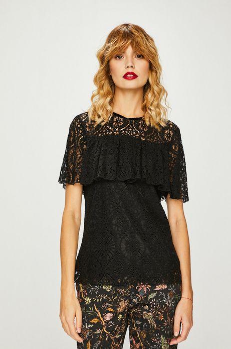 Bluzka damska czarna koronkowa z ozdobną falbanką
