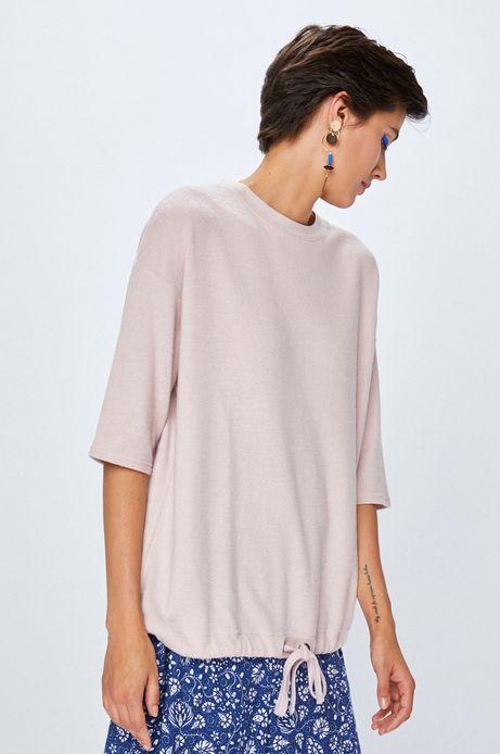 Bluza damska różowa z wiązaniem u dołu