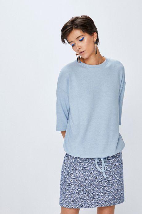 Bluza damska błękitna z wiązaniem u dołu