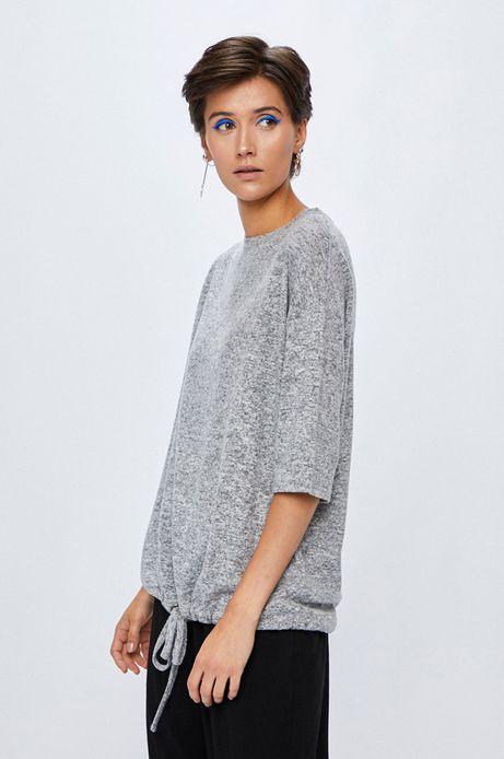 Woman's Bluza damska szara z wiązaniem u dołu