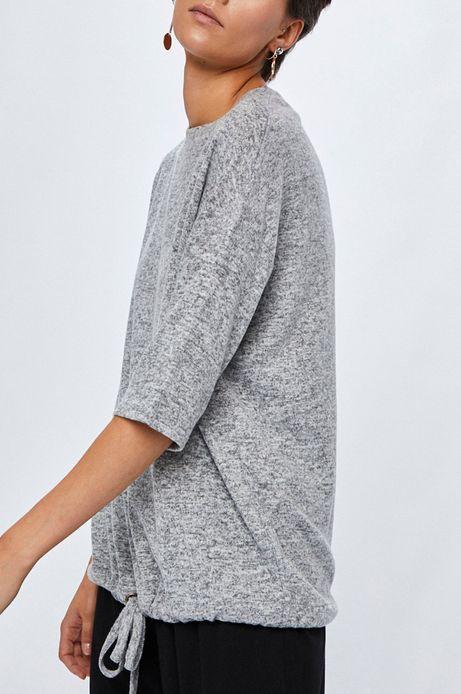 Bluza damska szara z wiązaniem u dołu