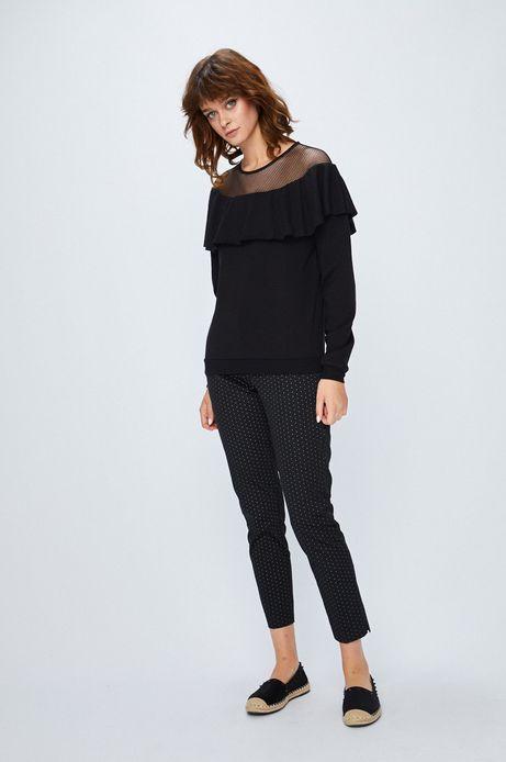 Bluza damska czarna z ozdobną falbaną