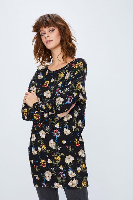 Bluza damska czarna w kwiaty