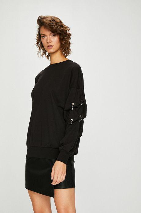 Bluza damska czarna z marszczeniami