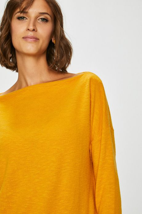 Bluza damska żółta ze ściągaczem u dołu