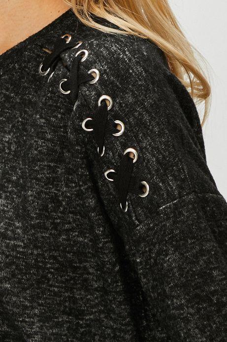 Bluza damska szara z ozdobnymi wstawkami