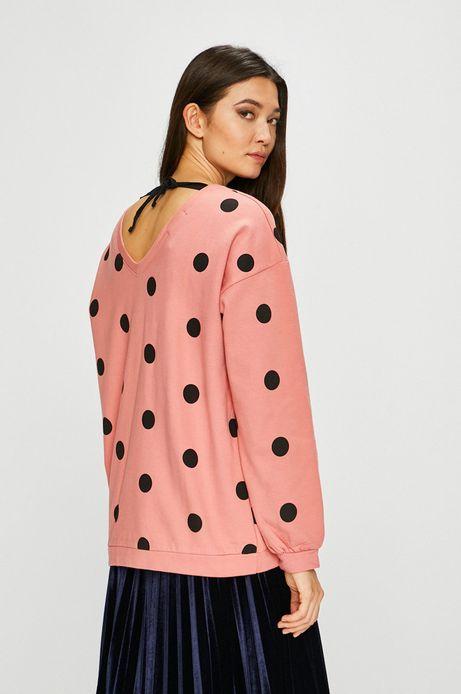 Bluza damska w grochy z ozdobnym wiązaniem różowa
