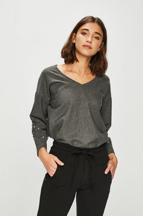 Bluzka damska szara z ozdobnymi detalami