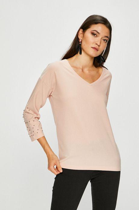 Bluzka damska różowa z ozdobnymi detalami
