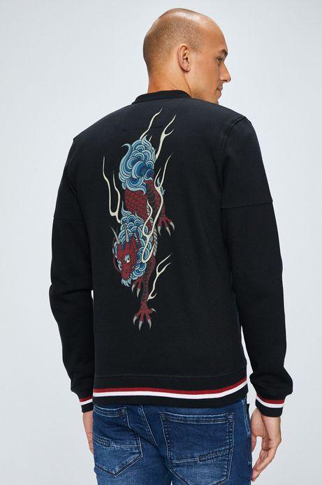 Bluza męska rozpinana czarna z nadrukiem