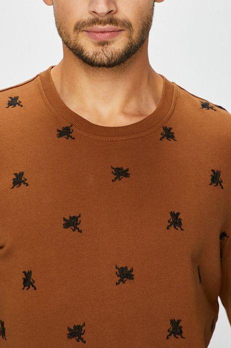 Bluza męska niezapinana brązowa z haftem