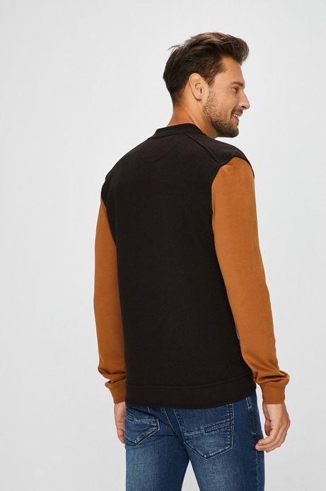 Bluza męska rozpinana czarna z brązowymi rękawami
