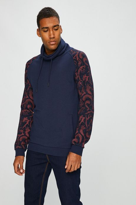 Bluza męska gładka z wzorzystymi rękawami