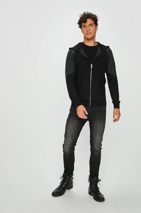 Bluza męska czarna z nadrukiem zapinana na suwak