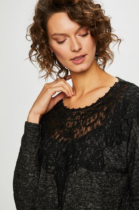 Woman's Bluzka damska szara z koronkowymi wstawkami
