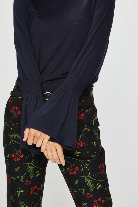 Bluzka damska granatowa z rękawami zakończonymi ściągaczami