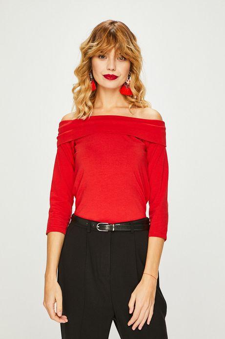 Bluzka damska czerwona z dekoltem typu łódka