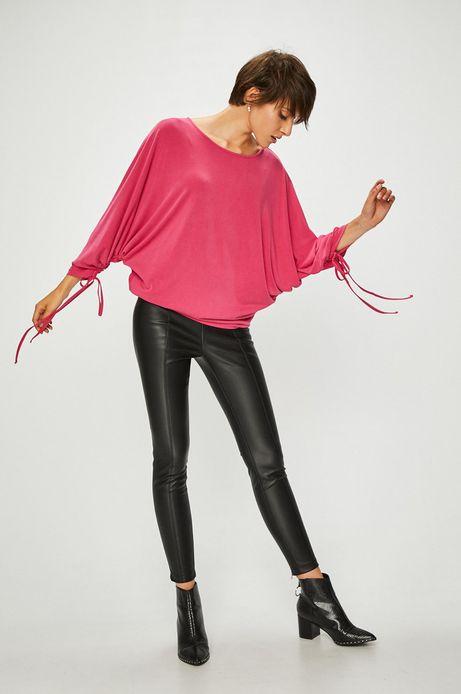 Bluzka damska różowa luźna z wiązaniami