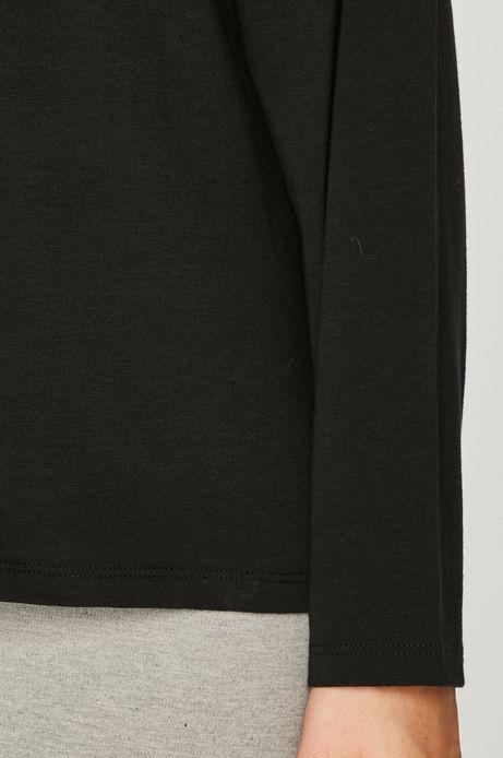 Bluzka damska czarna z obniżoną linią ramion