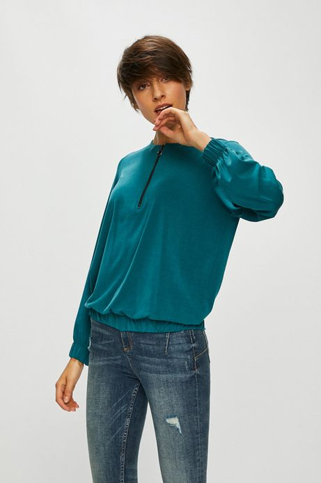 Bluzka damska zielona z suwakiem