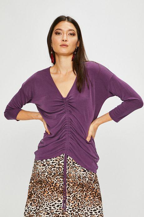 Bluzka damska fioletowa ze spiczastym dekoltem