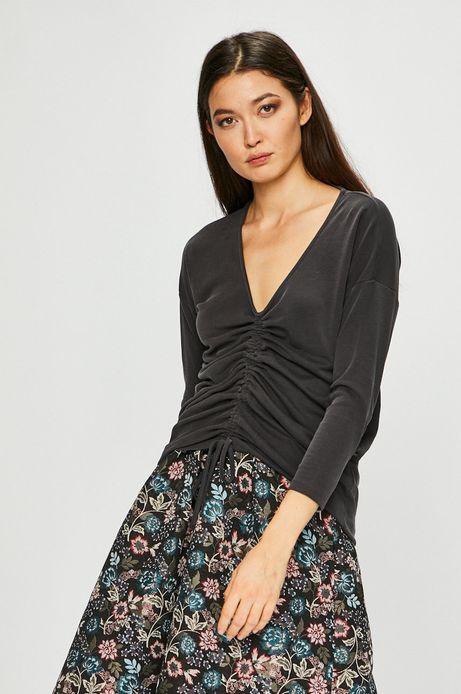 Bluzka damska szara ze spiczastym dekoltem
