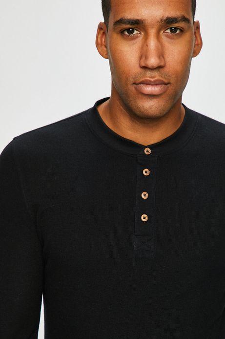 Longsleeve męski czarny z zapięciem na guziki
