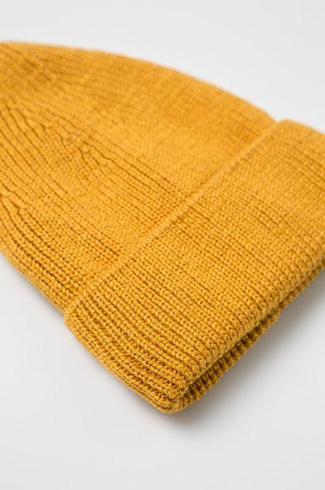 Czapka damska z domieszką wełny żółta
