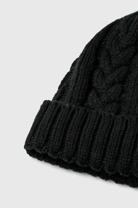 Czapka męska czarna gruba z wywijaną krawędzią