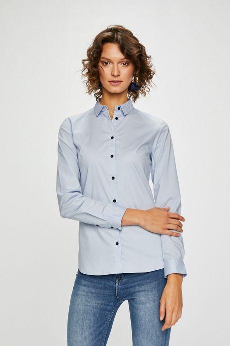 Koszula damska niebieska z miękkim kołnierzykiem