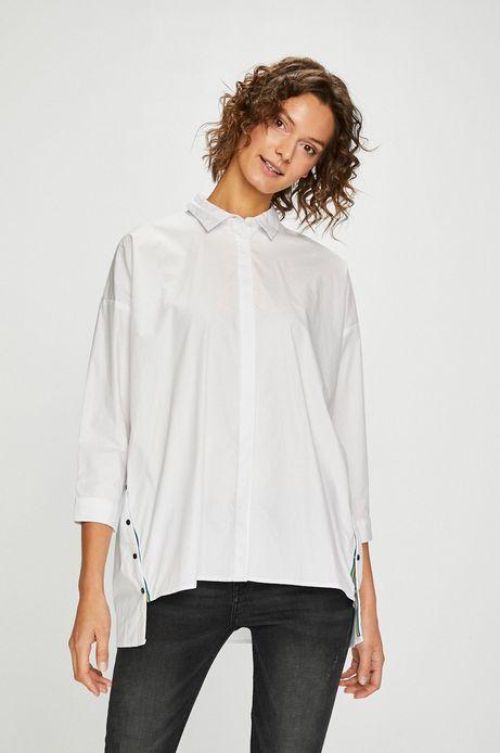 Woman's Koszula damska biała z przedłużonym tyłem