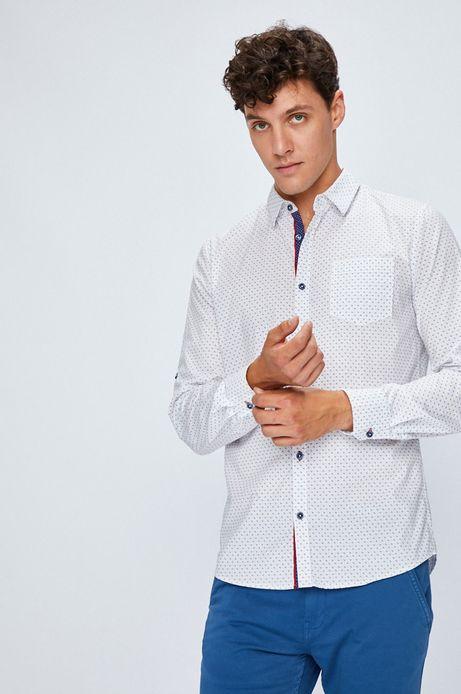 Koszula męska biała we wzorki
