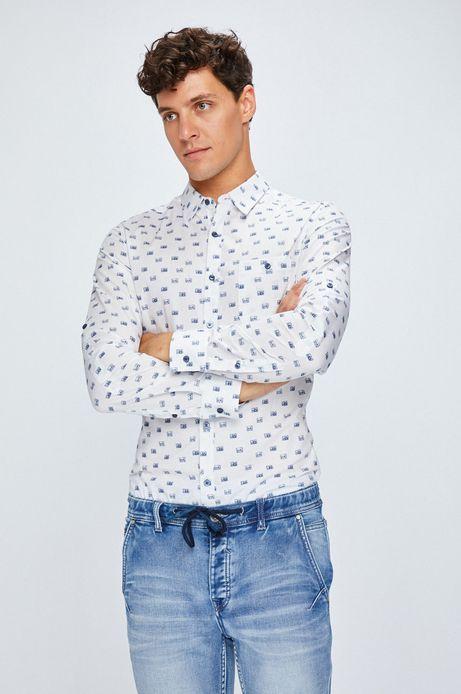 Man's Koszula męska biała w aparaty fotograficzne
